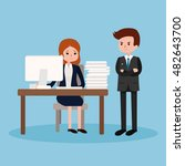 boss angry at employee.vector... | Shutterstock .eps vector #482643700