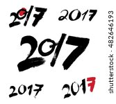 2017 new year black handwritten ... | Shutterstock . vector #482646193