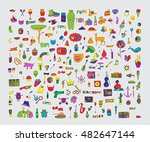 big vector set of patches and... | Shutterstock .eps vector #482647144
