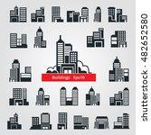 set of vector flat buildings.... | Shutterstock .eps vector #482652580