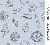 hand drawn nautical seamless... | Shutterstock .eps vector #482659723