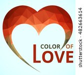 logo heart red color geometic...   Shutterstock .eps vector #482663614