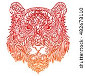 red tiger chinese zodiac | Shutterstock .eps vector #482678110