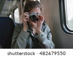 young girl makes photo in rail... | Shutterstock . vector #482679550