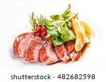 roast goose breast on white... | Shutterstock . vector #482682598