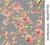 dahlia branch watercolor... | Shutterstock . vector #482695756