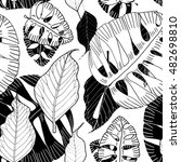 exotic leaves seamless pattern  ...   Shutterstock . vector #482698810