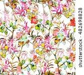 berry leaves seamless pattern... | Shutterstock . vector #482698828