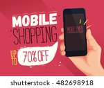 mobile shopping banner template.... | Shutterstock .eps vector #482698918