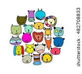 set of animal faces  sketch for ... | Shutterstock .eps vector #482708833