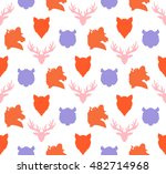 wildlife seamless pattern. zoo... | Shutterstock .eps vector #482714968