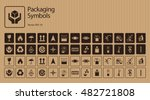 Vector packaging symbols set on cardboard background including Don't roll, litter, Clamp here, No hand- or forklift truck, Handling with care, Protect from radiation and other signs. Use on package | Shutterstock vector #482721808