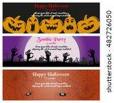 set of three halloween banners. ... | Shutterstock .eps vector #482726050
