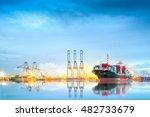 logistics and transportation of ... | Shutterstock . vector #482733679