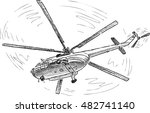 helicopter in the flight | Shutterstock .eps vector #482741140