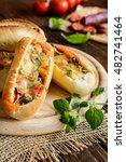 bread boats stuffed with... | Shutterstock . vector #482741464