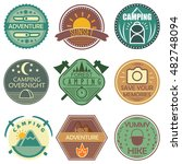 camping colored emblems in soft ... | Shutterstock .eps vector #482748094