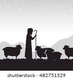 silhouette shepherd sheep... | Shutterstock .eps vector #482751529