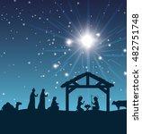 silhouette manger merry... | Shutterstock .eps vector #482751748