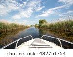 boat in danube delta  romania. | Shutterstock . vector #482751754