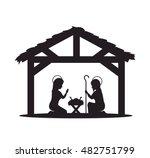silhouette manger merry... | Shutterstock .eps vector #482751799