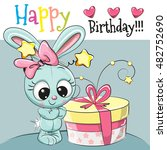 greeting card cute rabbit with... | Shutterstock .eps vector #482752690