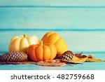 Vintage Pumpkins And Pine Cone...
