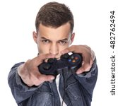 young man playing on console or ... | Shutterstock . vector #482762494