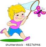 boy chasing butterfly | Shutterstock .eps vector #48276946