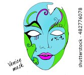 ink illustrated venice mask .... | Shutterstock . vector #482776078
