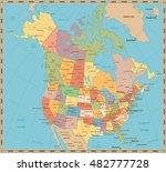 old vintage color political map ... | Shutterstock .eps vector #482777728