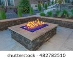 Square Gas Fire Pit With...