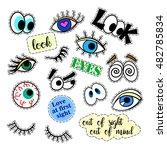 fashion patch badges eyes set