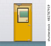 closed classroom door | Shutterstock .eps vector #482787919