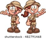 cartoon safari kids. vector... | Shutterstock .eps vector #482791468