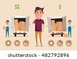 man thinking of choice. money... | Shutterstock .eps vector #482792896