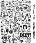 diet   raw food   doodles set | Shutterstock .eps vector #482794966