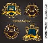 set of golden royal shields... | Shutterstock .eps vector #482800360