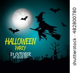 poster halloween party with... | Shutterstock .eps vector #482800780