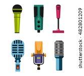 different microphones types... | Shutterstock .eps vector #482801209