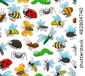 funny insects seamless pattern... | Shutterstock .eps vector #482804740