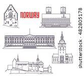 popular travel sights of norway ... | Shutterstock .eps vector #482805178