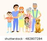 cartoon happy family portrait... | Shutterstock .eps vector #482807284