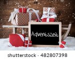 sleigh with gifts  snow ... | Shutterstock . vector #482807398
