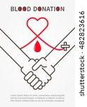 blood donation handshake vector ... | Shutterstock .eps vector #482823616