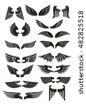 black wings icons set. heraldic ... | Shutterstock .eps vector #482825518