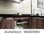 detail of apartment kitchen. | Shutterstock . vector #482835850