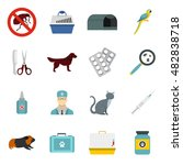 flat veterinary icons set....