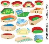 cartoon sport stadium icons set.... | Shutterstock . vector #482838790