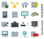 flat database icons set....